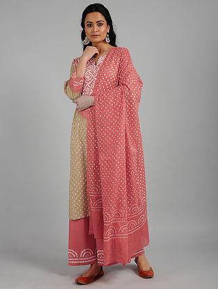 Peach Bandhani Cotton Kurta with Pants and Dupatta (Set of 3)