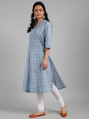Blue Batik Print Cotton Kurta