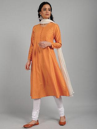 Orange Flock Print Cotton Silk Kurta