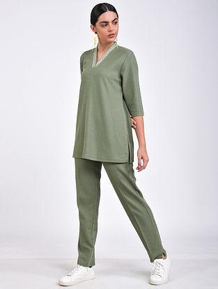 Olive Green Embroidered Cotton Blend Kurta