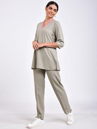 Grey Embroidered Cotton Blend Kurta