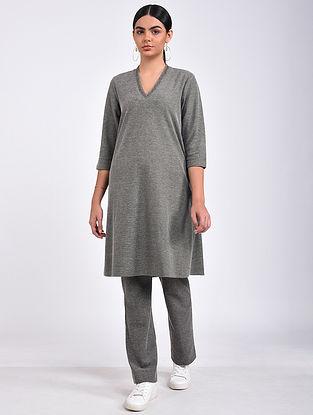 Grey Cotton Blend Kurta with Pants (Set of 2)