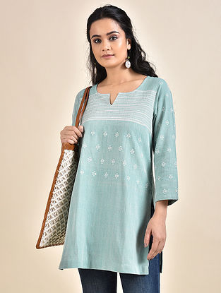 Blue Cotton Kurta with Bhujodi Weave