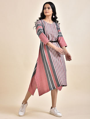 Pink Grey Cotton Dress with Bhujodi Weave