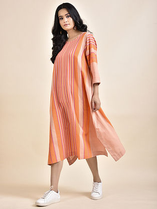 Orange Cotton Dress with Bhujodi Weave