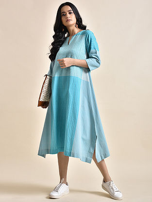 Blue Khadi Dress with Bhujodi Weave