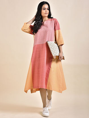 Pink Orange Khadi Dress with Bhujodi Weave