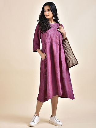 Magenta Pintucks Linen Dress