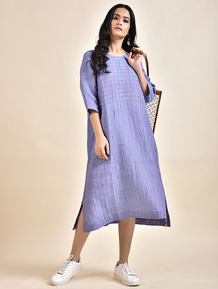 Purple Pintucks Linen Dress