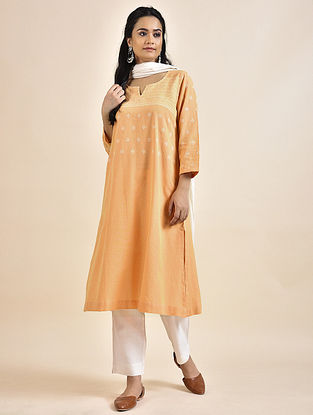 Orange Cotton Kurta with Bhujodi Weave