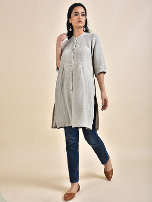 Grey Pintucks Linen Kurta