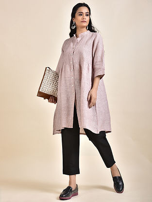 Dusty Rose Pintucks Linen Kurta