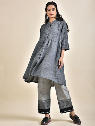 Charcoal Pintucks Linen Kurta