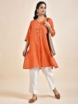 Orange Linen Kurta