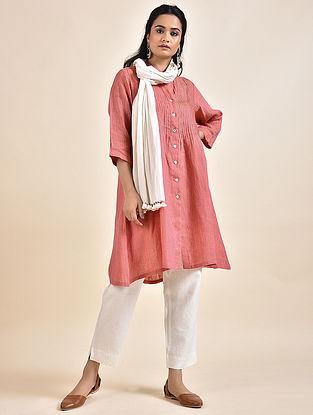 Pink Pintucks Linen Kurta