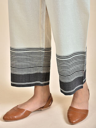 Ivory Cotton Pants with Bhujodi Weave