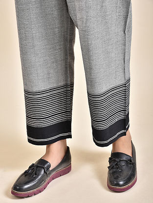 Grey Cotton Pants with Bhujodi Weave