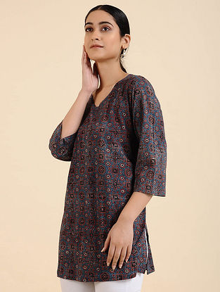 Multicolored Ajrakh Cotton Blend Tunic