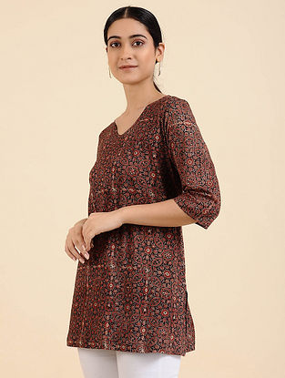 Brown Ajrakh Cotton Blend Tunic