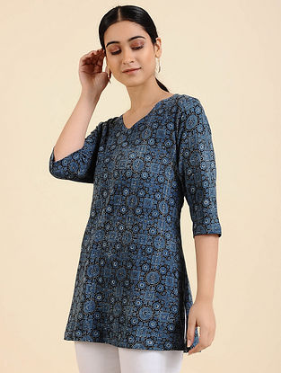 Blue Ajrakh Cotton Blend Tunic