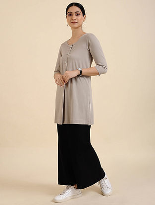 Grey Cotton Blend Tunic
