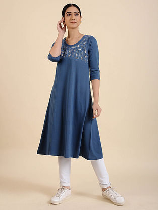Blue Applique Cotton Blend Kurta