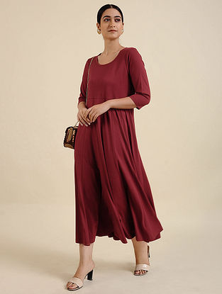 Brick Red Cotton Blend Kurta Dress