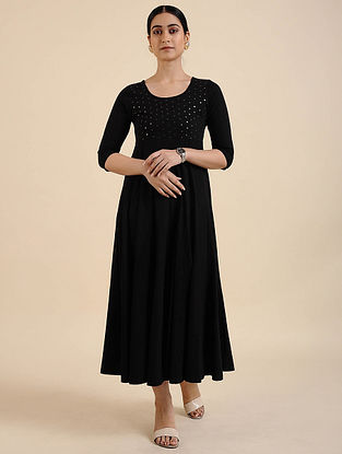 Black Cotton Blend Kurta Dress with Sequins