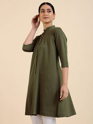 Olive Green Cotton Blend Kurta