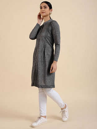 Grey Cotton Blend Kurta