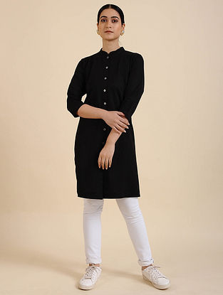 Black Cotton Blend Kurta