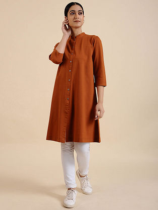 Rust Cotton Blend Kurta