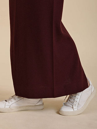Wine Cotton Blend Skirt