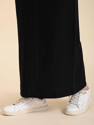 Black Cotton Blend Skirt