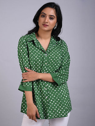 Green Bandhani Cotton Top