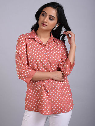 Peach Bandhani Cotton Top