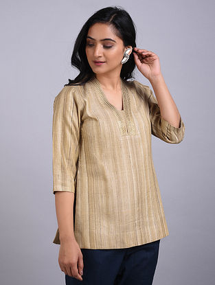 Beige Embroidered Tussar Short Kurta