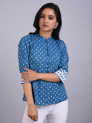 Blue Bandhani Cotton Short Kurta