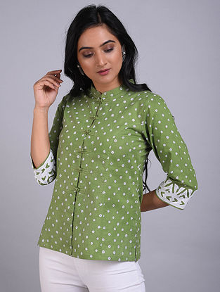 Green Bandhani Cotton Short Kurta