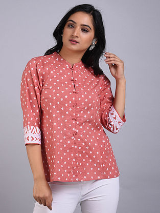 Peach Bandhani Cotton Short Kurta