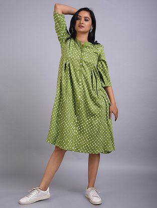 Green Bandhani Cotton Dress