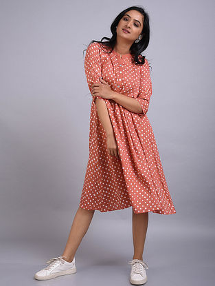 Peach Bandhani Cotton Dress