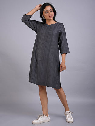 Grey Gicha Silk Dress