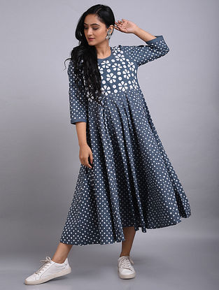 Grey Applique Cotton Dress