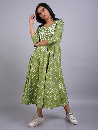 Green Applique Cotton Dress