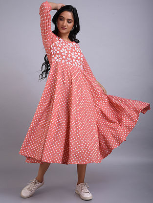Peach Applique Cotton Dress