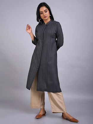 Grey Gicha Silk Kurta