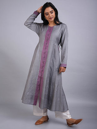 Grey Champa Silk Kurta