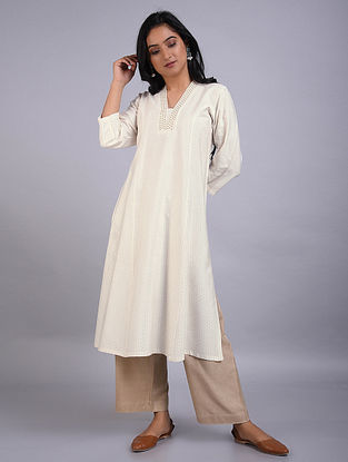 Ivory Embroidered Silk Kurta