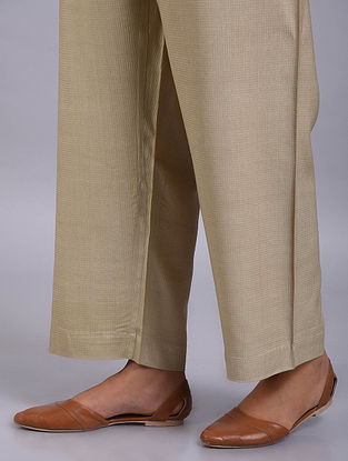 Beige Silk Pants